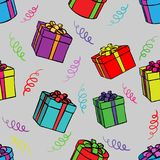 Seamless background of boxes with gifts Royalty Free Illustration
