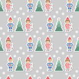 Seamless background. Boy and girl with gifts decorate Christmas tree. Stock Photography