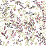 Seamless background with branches and leaves. Seamless background with branches and leaves in pink and green.Background for your design. Vector illustration Stock Image