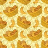 Seamless background, bread in a basket Royalty Free Stock Photo