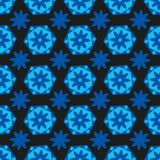Seamless background bright blue hexagons with colors and geometric shapes stock illustration