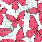 Seamless background with bright colorful butterflies Royalty Free Stock Photos