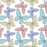 Seamless background with bright colorful butterflies. Beautiful seamless background with bright colorful butterflies . Hand-drawn contour lines and strokes Stock Photography