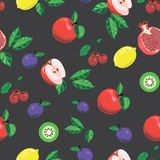 Seamless pattern with bright fruits. royalty free illustration