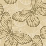 Seamless background with brown butterflies. Royalty Free Stock Photography