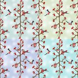 Seamless background with bullfinches sitting on branch royalty free illustration