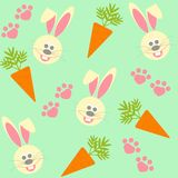 Seamless background with bunnies and  carrots Stock Photo