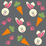 Seamless background with bunnies and  carrots Stock Photography