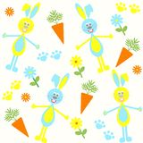 Seamless background with bunnies, carrots Stock Photo