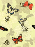 Seamless background with butterflies Stock Image