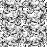 Seamless background of butterflies black and white Stock Photo
