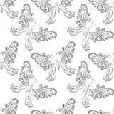 Seamless background, butterflies contours Royalty Free Stock Photo