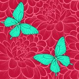 Seamless background with butterflies and dahlias. Hand-drawn contour lines. Perfect for background greeting cards and invitations Stock Photo