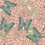 Seamless background with butterflies and dahlias p. Beautiful seamless background with butterflies and dahlias pastel retro colors Royalty Free Stock Photos