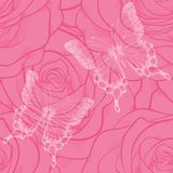 Seamless background with butterflies and flowers roses Stock Photography