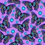 Seamless background with butterflies and jewels Stock Photography