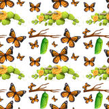 Seamless background with butterflies and leaves Stock Image