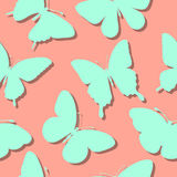 Seamless background with butterflies silhouettes Stock Photography