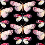 Seamless background, butterfly pattern. Watercolor illustration Royalty Free Stock Photos
