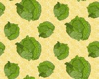 Seamless background with cabbage. Beautiful seamless background of fresh green cabbage Stock Images
