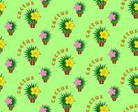 Seamless background with cactus. Beautiful bright seamless pattern with stylized flowering cacti Stock Photo