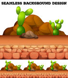 Seamless background with cactus and rocks. Illustration Royalty Free Stock Photos