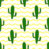 Seamless background with cactuses on a background of yellow zigzag Royalty Free Stock Photos