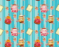 Seamless background with cakes Stock Image