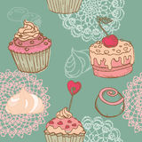 Seamless Background with Cakes Stock Images