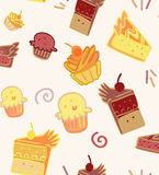 Seamless background with cakes and cupcakes Royalty Free Stock Photos
