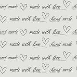 Seamless background with calligraphy for handmade package. Seamless vecor  background on grey Royalty Free Stock Images