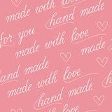 Seamless background with calligraphy for handmade package. Seamless vecor  background on pink Royalty Free Stock Image