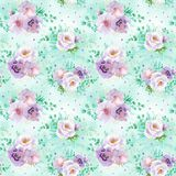 Seamless watercolor floral pattern in mint green and light purple violet colors on light green background Royalty Free Stock Photography