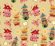 Seamless background with candy houses Royalty Free Stock Photos