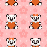 Seamless background card with pandas Royalty Free Stock Photos