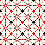 Seamless background with card suits. Vector illustration of seamless pattern of poker signs Royalty Free Stock Photo