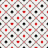 Seamless background with card suits. Vector illustration of seamless pattern of poker signs Royalty Free Stock Photography