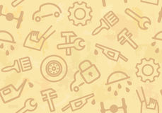 Seamless background with cars and spare parts Stock Photos