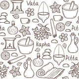 Seamless background with cartoon ayurvedic objects Royalty Free Stock Image