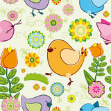 Seamless background with cartoon birds. Seamless background with cartoon birds - beautiful summer birds among the fantastic flowers Royalty Free Stock Photo