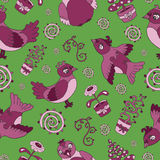 Seamless background with cartoon birds and flowers Royalty Free Stock Photography