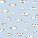 Seamless background with cartoon clouds Stock Photos