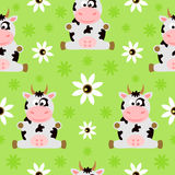 Seamless background cartoon with cow Stock Photos