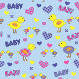 Seamless background with cartoon drawings for baby Stock Photo