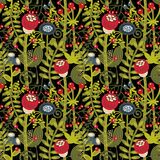 Seamless background with cartoon flowers. Vector beautiful texture Stock Image