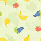 Seamless background with cartoon fruit Stock Images