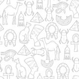 Seamless background with cartoon objects in hand Stock Photo