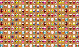 Seamless background of cartoon owls.. EPS 10. Royalty Free Stock Photo