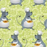 Seamless background, cartoon rat cook Stock Images