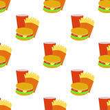 Seamless background with cartoon style fastfoods Royalty Free Stock Photo